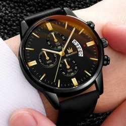 Men's Calendar Fashion Sport Frame Stainless Steel Leather Strap Quartz Business Watch