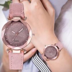 Casual Women Romantic Leather Rhinestone Designer Ladies Clock