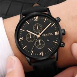 Men's watch with calendar alloy case analog quartz sports men's watch