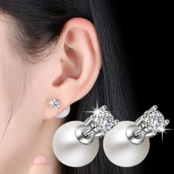 High quality fashion shiny crystal pearl women 925 sterling silver ladies stud earrings jewelry female gift cheap