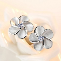 Crystal Rose Flower 925 Sterling Silver Female Stud Earrings Original Jewelry For Women