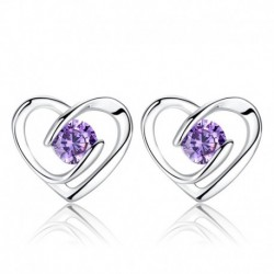 925 sterling silver romantic love heart shiny crystal ladies`stud earrings