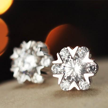 Sterling silver fashion shiny snowflake crystal ladies stud earrings