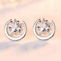 Sterling silver hot sell little round star crystal ladies stud earrings