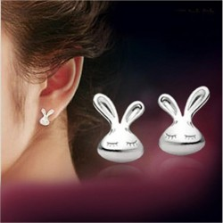 Fashion little rabbit 925 sterling silver ladies`stud earrings jewelry