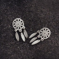 Sterling Silver Trendy Sunflower Ladies Stud Earrings