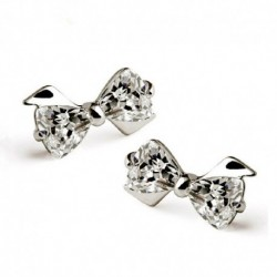 Sterling silver fashion shiny crystal ladies stud earrings
