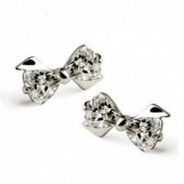Sterling silver fashion shiny crystal ladies stud earrings