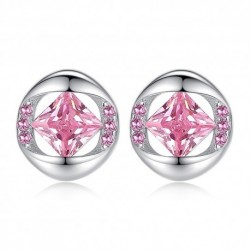 Wholesale Shine  Flower  Silver Lady Stud Earrings