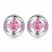 Wholesale Shine  Flower  Silver Lady Stud Earrings