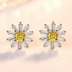 Sterling silver fashion yellow crystal ice flower ladies`stud earrings
