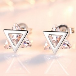 Elegant triangle Cubic  sterling silver lady stud earrings