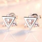 Elegant triangle Cubic  sterling silver lady stud earrings