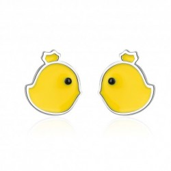New Arrivals Trendy Sweet Little Yellow Duck Animal  Silver Ladies Stud Earrings