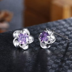 Sterling silver fashion plum flower shiny crystal ladies stud earrings