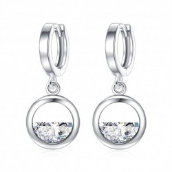 Trendy Round Circle Half Crystal  Female Stud Earrings