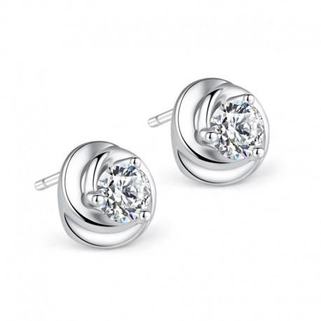 Sterling silver fashion shiny crystal flower ladies stud earrings