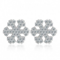 Sterling silver fashion shiny crystal snowflake ladies stud earrings