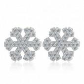 Sterling silver fashion shiny crystal snowflake ladies stud earrings