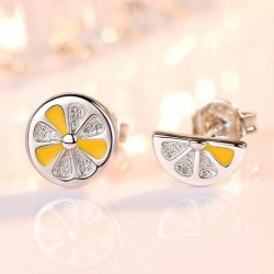 New arrival trendy lemon fruit  sterling silver ladies stud earrings