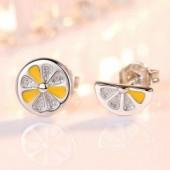 New arrival trendy lemon fruit  sterling silver ladies stud earrings
