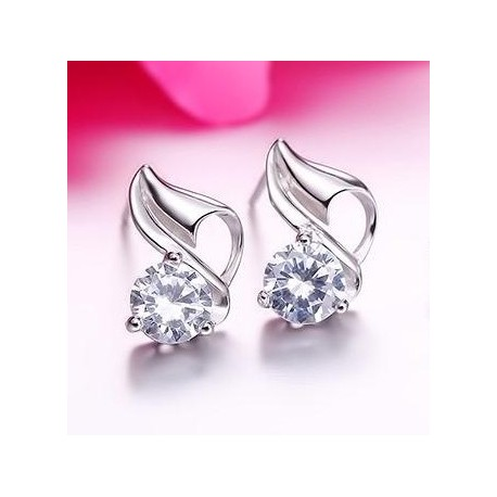 Sterling silver fashion shiny crystal Conch ladies stud earrings
