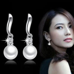Sterling silver fashion shiny crystal pearl jewelry ladies stud earrings
