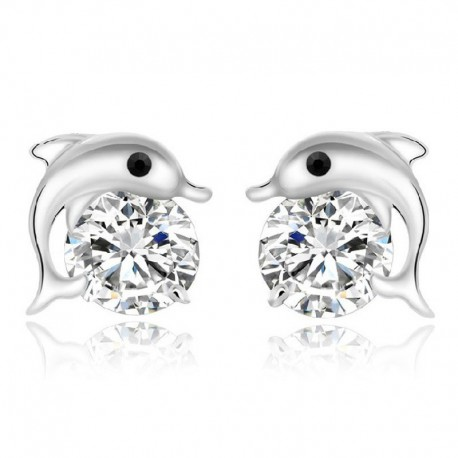 Sterling silver fashion dolphin animal shiny crystal ladies stud earrings