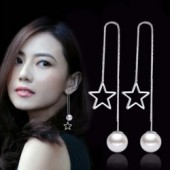 Sterling silver fashion little star pearl ladies long stud earrings