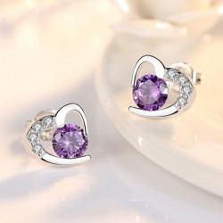 Sterling silver romantic love heart crystal ladies stud earrings