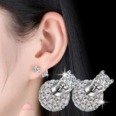 High quality fashion shiny crystal  ball stud earrings