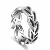100% 925 sterling silver vintage thai silver leaf flower girl finger rings jewelry women party ring birthday gift