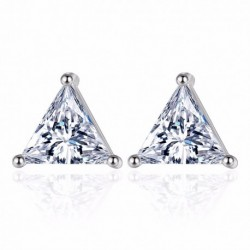100% 925 sterling silver fashion shiny triangle crystal ladies`stud earrings women jewelry female birthday gift cheap