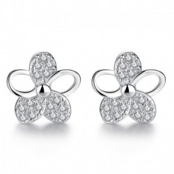 Promotion 100% 925 sterling silver fashion plum flower shiny crystal ladies stud earrings jewelry Anti allergy drop shipping