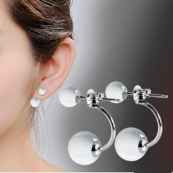 Promotion high quality fashion double opal stone 925 sterling silver ladies`stud earrings jewelry gift