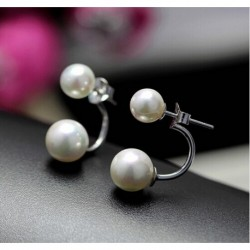 Big promotion fashion U bend double shell pearl 925 sterling silver ladies stud earrings allergy free gift women drop shipping