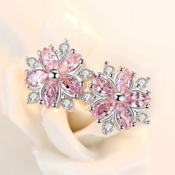 Luxury Cherry Flower Shine Pink Cubic Zirconia 925 Sterling Silver Lady Stud Earrings Original Jewelry For Women Drop Shipping