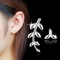 100% 925 sterling silver fashion leaf design ladies`stud earrings jewelry wholesale Anti allergy drop shipping