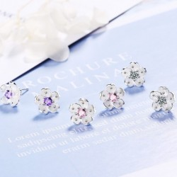 100% 925 Sterling Silver Cute Cherry Flower Cubic Zirconia Female Stud Earrings Wholesale Jewelry No Fade Women Party Gift