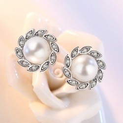 100% 925 sterling silver fashion shiny crystal pearl leaf ladies`stud earrings female gift wedding jewelry cheap
