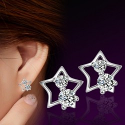 100% 925 sterling silver fashion shiny crystal little star ladies`stud earrings jewelry Anti allergy wholesale