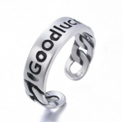 New Arrival 100% 925 Sterling Silver Fashion Good Luck Letter Lady Finger Rings Jewelry Promotion Gift For Women Open Ring Cheap