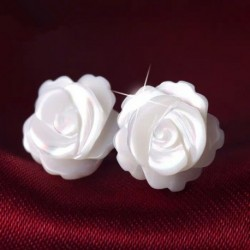 100% 925 Sterling Silver Trendy Rose Flower Pearl Ladies Stud Earrings Jewelry Women Birthday Gift Drop Shipping Never Fade Girl