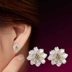 100% 925 sterling silver fashion lotus flower ladies stud earrings jewelry women Anti allergy Christmas gift drop shipping