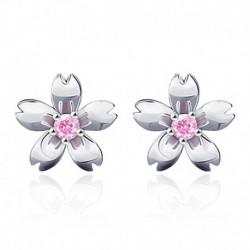100% 925 sterling silver fashion Peach blossom flower ladies`stud earrings jewelry women female wedding gift cheap drop shipping