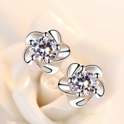 Elegant Rose Flower Shine Cubic Zirconia 925 Sterling Silver Lady Stud Earrings Jewelry For Women Drop Shipping No Fade