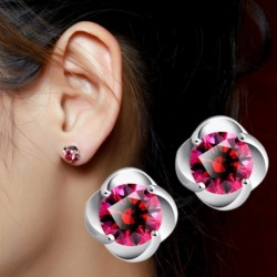 100% 925 sterling silver fashion red crystal rose flower ladies`stud earrings jewelry female Anti allergy drop shipping