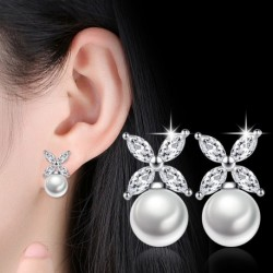 100% 925 sterling silver shiny cz zircon ladies stud earrings flower pearl women jewelry gift drop shipping female