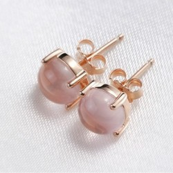 100% 925 sterling silver high quality pink opal stone ladies stud earrings jewelry Anti allergy female Christmas gift