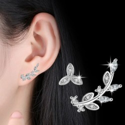 100% 925 sterling silver fashion Asymmetrical leaf earring ladies crystal stud earrings jewelry Anti allergy no fade